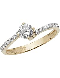 1879cb3f6 Elegant 9ct Carat Yellow Gold Ladies Solitaire Engagement Crossover Ring  with Cultured Cubic Zirconia/CZ