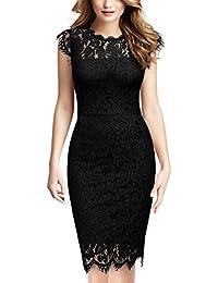 MIUSOL Damen Party Kleid Rundhals Elegant Spitzenkleid Stretch Abendkleider