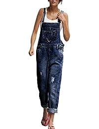 Wolfleague Salopettes Femme Bleu Svelte Pantalon Long Jean Denim pour Femme Sangles De Trou Combinaison Denim Femme Poche Barboteuse Pantalon S ~ L