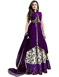 5494f57ede Shree Ambaji Creation Women s Taffeta Silk Embroidered Semi-Stitched  Anarkali Gown