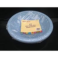 12 x luz azul plástico disposible cuenco redondo (-18 cm para fiestas barbacoa y