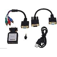 Dax-Hub-Hammerhead 1080p HD VGA a HDMI, 3,5 mm, Audio e Video, Mini adattatore convertitore per Monitor HDTV 1080p nero nero HDMI to VGA/YPBPR