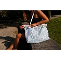 Bolso grande de playa verde claro y blanco tropical, 100% algodón, bolso grande