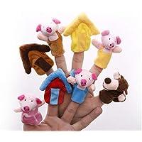 Aofocy Marionetas de Dedo Animales de Dibujos Animados 'Los Tres cerditos' Animal Marioneta de Dedos Juguetes educativos Juguete de Cuento Muñeca de Peluche Muñeca para niños Juego de 8 Piezas