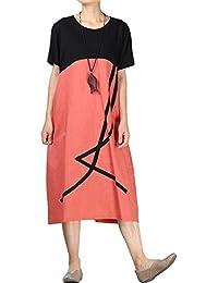 e9de3b073 Vestido De Verano De Corta Cuello para con Manga Redondo Ropa Festiva Mujer  Costura De Vestidos Casuales con Bolsillos Laterales…