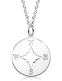 1fa945c942fe Iyé Biyé Jewels - Collar mujer plata de ley 925 rosa de los vientos 17 mm