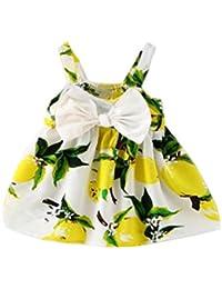 Vovotrade Ropa para bebés Limonero impreso Traje infantil Nudo de proa Vestido sin mangas de princesa Gallus