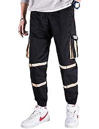 QitunC Hombre Casual Drawstring Pantalones De Trabajo Multi Bolsillos Militar Cargo Pant