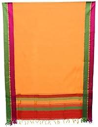 Women's Designer Cotton Silk Maheshwari Zari Border Dupatta Of Mustard Color For Girls/women BY Sui Dhaagaa
