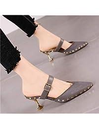 eb914c857 HRCxue Zapatos de la Corte Gato con Sandalias Hebilla de cinturón de Moda  Zapatos de tacón de Aguja Mujer Temperamento Remache…