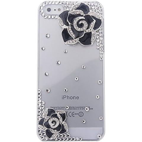 Semoss Trasparente 3D Bling Nero Fiori Custodia in Strass Diamante per Apple iPhone 6 Cover Rigida Hardcase - Bling Fiore