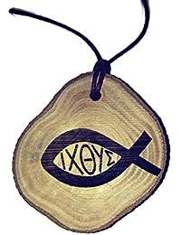 Retrosheep Ichthys Jesus Christ symbol Fish Handmade Eco Friendly Wooden Necklace Charm