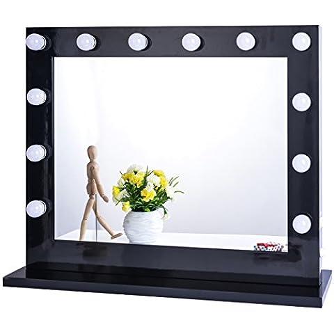 chende Blanco Hollywood Tabletops iluminado Maquillaje Espejo Tocador Con Regulador De Intensidad (8065, negro)