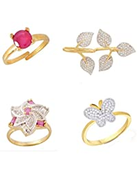 Geode Delight Exclusive Combo Of 4 Gold Plated Adjustable American Diamond Rings For Women & Girls