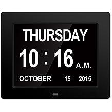 <2017 actualización>Gran reloj de pared Reloj digital original -La pérdida de la memoria digital Día Calendario Reloj con la extra grande para no abreviada Día y Month.8 '' reloj perfecto para deficientes visuales mayores Oficinas de Vida Inicio