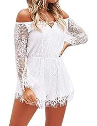 d97237f5a8e Qiusa Lace Off Shoulder Jumpsuit pour Les Dames , Sexy Court Culotte  Boobtube Jambe Large à