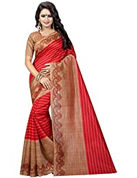 Clothsfab Women's Bhagalpuri Silk Printed Saree With Blouse Piece Coffe House_Red And Beige_Free Size
