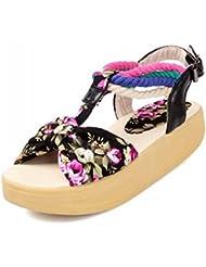 NobS Shaking Sandals Custom Tamaño Grande 40-43 Floral Medio Talón Niñas Verano Playa Zapatos , black , 34