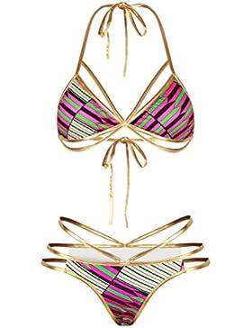 Shangrui Donna Costume Da Bagno Serie Digitale Stampato Bendare senza schienale Costume da bagno Bikini(FZSLY8018)