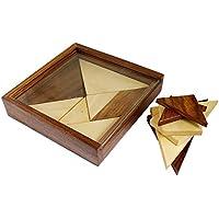 2-in-1 tangram puzzle 3D gioco in legno - Rompicapo puzzle - bit e pezzi di puzzle piano per i bambini -11.7 x 11.7 x 2 cm