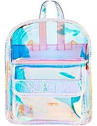 d71d513e2b Fenical Zaino da donna trasparente olografico olografico impermeabile busta  Daypack