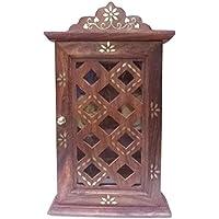 indiasbigshop regalo di giorno del padre Handcrafted Wooden Key Mobile con vetro del pannello Porte & Brass intarsio Chex design