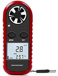 MYCARBON Anemometer Handheld Wide Range&Multiple Units Digital Wind Speed Meter LCD with Backlight Airflow Meters Gauge Temperature Indicator for Windsurfing Kite Flying Sailing Surfing Fishing