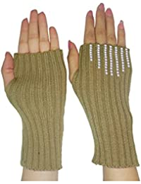 Womens Warm Winter Knitted Stretchy Fingerless Gloves with Rhinestones