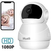 Caméra IP Wifi sans Fil Muzili HD 1080p Caméra de Surveillance Moniteur de Sécurité à Domicile 360 ° 2 Voies Audio/Zoom/Vision de Nuit/Alarme, Carte Micro SD pour Bébé/Elder/Animal Domestique/Bureau
