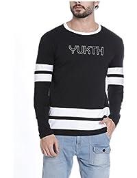 Yukth Mens Black White Printed Round Neck Full Sleeve T-shirt