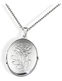 Goldmaid Women's  Locket 925 Sterling Silver Necklace with Rose Adornment