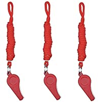 Giveet 3 Pieces Red Whistle mit Lanyards, dauerhafte Kunststoff-Pfeife für Indoor-Party-Sport