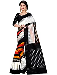 Sugathari Sarees Women's White And Black Mysore Bhagalpuri Art Silk Saree (Bhagalpuri Sarees 62 White Black)