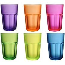 Novastyl–Juego de 6vasos altos de Contenance cristal Multi colores, cristal, multicolor, 25,5 x 16,7 x 12,6 cm