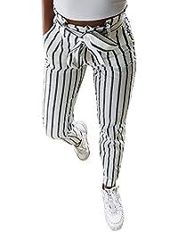 WOVELOT Pantalones Harem Largos A Rayas de Cintura Alta Para Mujer  Pantalones Lapiz de Cintura Elastica 347c949b233a