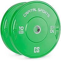 Capital Sports Nipton • Discos de peso • Discos para barras • Goma endurecida • 10