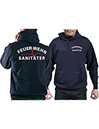Sweat-shirt Bleu marine, pompiers Sanitäter Blanc/Rouge