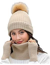 Amorar Mode Chapeau d hiver Tricoté Bonnet Écharpe Gant Ensembles De Neige  Casquette De Crâne 0df80b64733