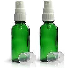 verde Bottiglie Di Vetro 50ml con bianco Spray Nebulizzatore CONFEZIONE 2. vuote verde Durham bottiglia in vetro contenitore adatto per Aromaterapia,Arte,Artigianato,Pronto Soccorso,Misura Viaggio