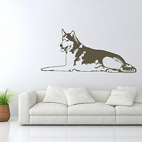 Adesivo da parete–Husky da parete Tattoo adesivo da parete cane razza canina animali il mondo degli animali, adesivi, Plastica, nero, ca. 180 x 83 cm