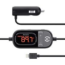 Belkin BEF8J055 - Transmisor de FM (cargador coche, USB, conector Lightning), negro