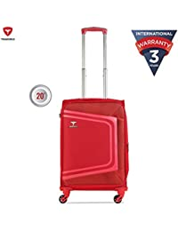 Traworld Tokyo Expandable Premium Jacquard Material 59cm Red Soft Sided 4 Wheels Spinner Travel Trolley Luggage Suitcase