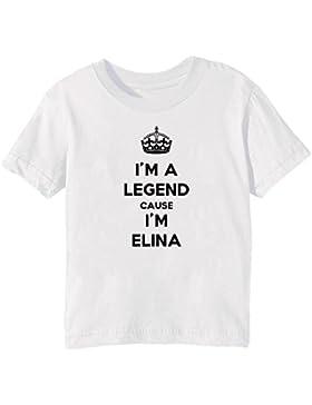 I'm A Legend Cause I'm Elina Bambini Unisex Ragazzi Ragazze T-Shirt Maglietta Bianco Maniche Corte Tutti Dimensioni...