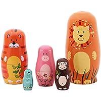 Qeedio 5 Piezas de muñecas de anidación de Madera patrón de Animales de Dibujos Animados Lindo niños niños muñeca de Juguete Regalos Decoraciones para el hogar