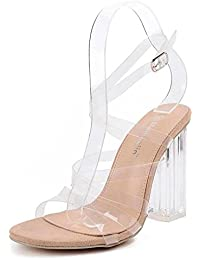 GLTER Mujeres Ankle Strap Bombas Cristal Encantador Con Espalda De Tacón Alto Transparente Sandalias De Pie Cruzado Sandalias Zapatos De Corte Albaricoque , apricot , 35