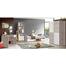 15fc6e914a56 LUPO Chambre enfant complete style classique décor chene cendré et blanc  mat - l 90 x