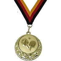 JoGo Medaille Ø70mm Tischtennis goldfarben mit Band