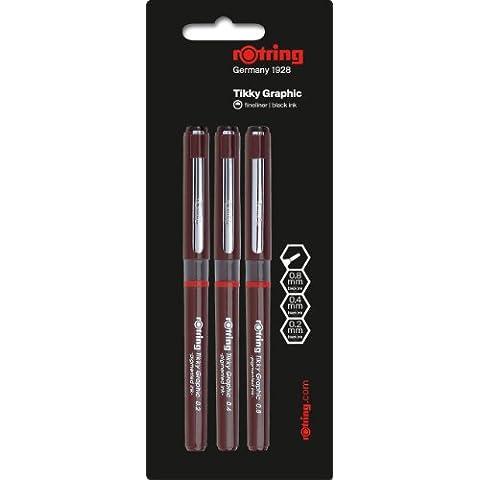 Rotring Tikky Graphic - Rotuladores de punta fina (0, 2 mm, 0,4 mm y 0,8 mm, 3 unidades)