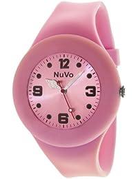 NuVo - NU13H21 - Montre Mixte détachable du bracelet  - Cadran Rose - Bracelet Silicone Rose changeable