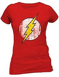 7a1b32c3ef FLASH - DISTRESSED LOGO The T-Shirt Donna Rossa Ufficiale Originale 100%  Cotone Maglia